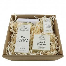 Confezione Antichi Speziali di Camaldoli: oli aromatici, crema viso, sapone