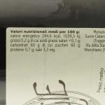 Confettura di Ciliegie Trappiste di Vitorchiano valori nutrizionali