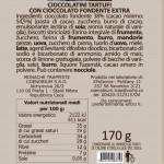 Cioccolatini Tartufi con cioccolato fondente extra Trappiste della Moldava di Praga etichetta