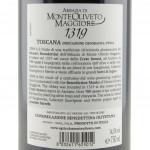 Vino 1319 Toscana Riserva Abbazia Monte Oliveto Maggiore etichetta retro