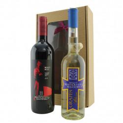 Confezione Regalo con Grappa e Vino dell'Abbazia di Monte Oliveto Maggiore